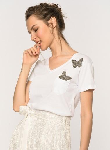 Loves You Kelebek Taşlı T-Shirt Beyaz